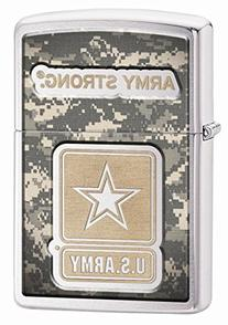 Zippo US Army Camouflage Brushed Pocket Lighter, Chrome