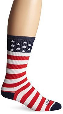 SockGuy Men's USA Flag Socks, White, Small/Medium