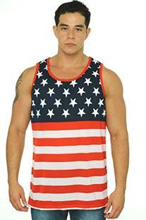 Men's USA Flag Tank Top America Stars & Stripes: LARGE
