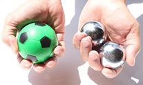 USA  Heavier Iron Ball with Chime +  Soccer Squeeze Ball -
