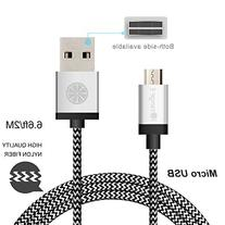 USB Cable, iOrange-E 6.6ft  Braided Micro USB to USB Cable,