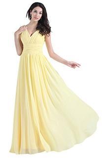 Diyouth V-neck Bridesmaid Chiffon Prom Dresses Long Evening