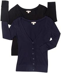 2 Pack Zenana Women's V-Neck Button Up Cardigans Med Black,