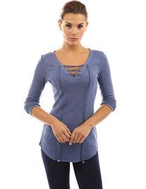 PattyBoutik Women's V Neck Lace Up Curved Hem Tunic