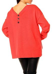 Glamour Empire Women's V Neck Oversized Sweater 409 Coral
