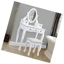Vanity Table Jewelry Makeup Desk Bench Drawer White Solid