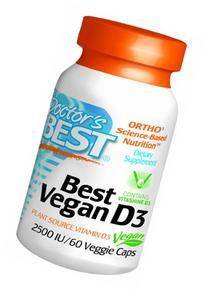 Doctor's Best Best Vegan D3 Vegetarian Capsules, 60 Count