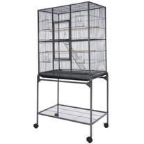 Vein Black Rectangle Double-deck Parrot Bird Cage with