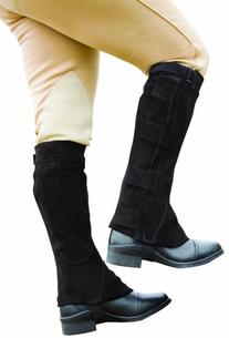 Perri's Velcro Half Chaps, Black, Medium