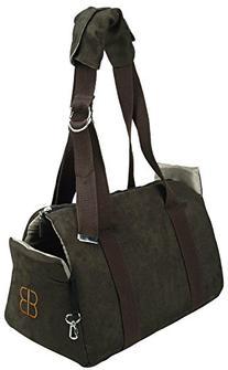 Petego Velvet Bitty Bag Pet Carrier, Espresso/Stone