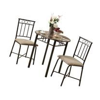 Venice Bronze and Marble Style 3-Piece Bistro Dining Set,