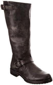 FRYE Women's Veronica Slouch Boot, Black Calf Shine Vintage
