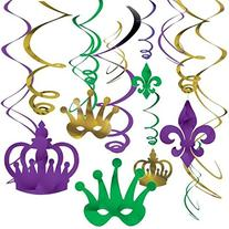 Amscan Vibrant Mardi Gras Party Crown & Mask Swirl Ceiling