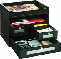 Victor Wood Midnight Black Collection, Tidy Tower Desktop