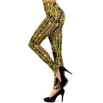 Luxury Divas Black & Gold Victorian Brocade Print Leggings