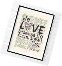 Vintage Bible verse scripture - Upcycled page - We Love