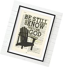 Vintage Bible verse scripture- Upcycled page - Be still and
