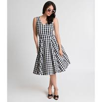 Vintage Style Black & White Gingham Sleeveless Cotton Swing