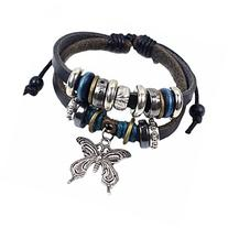 MAKIYO Vintage Multilayer Leather Beaded Charms Butterfly