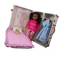 The Queen's Treasures Vintage Pretty in Pink Doll Trunk with Bed for 18Doll