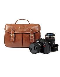 Kattee Vintage PU Leather/ Canvas DSLR Camera Shoulder Bag
