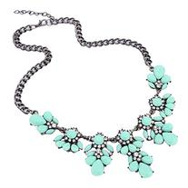 Vintage Resin Flower Bubble Bib Statement Pendant Necklace