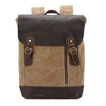 Win8Fong Vintage Retro Genuine Leather Canvas Backpack