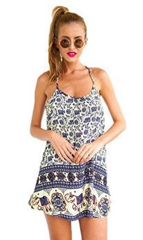 Bluetime Women's Vintage Sleeveless Slip Dress with