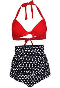 Cocoship Red Vintage High Waisted Bikini Skull Polka