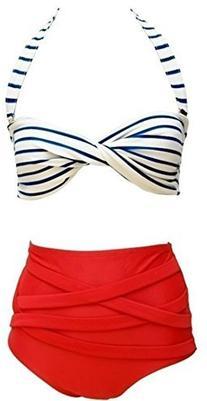 Women's Fashion Vintage High Waisted 2 Pieces Bikini