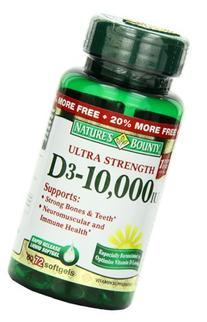 Nature's Bounty Vitamin D3 10,000 IU, 72 Softgels