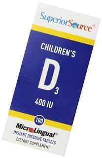 Superior Source Children's Vitamin D 400IU Tablets, 100