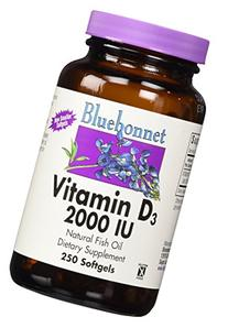 Bluebonnet Vitamin D3 2000 IU Softgels, 250 Count