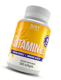Vitamin D3 Supplement by Just Potent :: 500 Softgels :: 5000