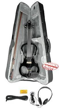 Fever VLE-BK Solid Wood Electric Violin with Ebony Fittings