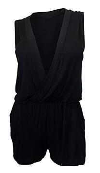 eVogues Plus size Deep V-Neck Sleeveless Romper Black - 1X