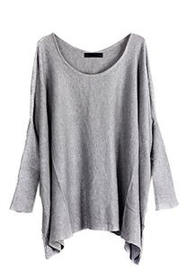 VonFon Women Long Sleeve Batwing O Neck Pure Knitwear