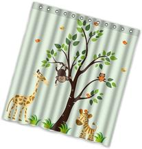 "66"" x 72"" Giraffe owl and Monkey In the Tree Theme Print 100"