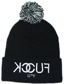 Warm Black Fuck You Pom Letter Beanie Hat for Men and Women