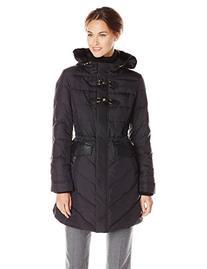Via Spiga Women's Water Resistant Down Filled Coat with Fur
