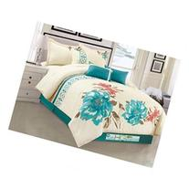 7-Pc Watercolor Floral Blossom Clover Embroidery Comforter