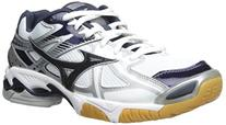 Mizuno Women's Wave Bolt 4 WH-NY Volleyball Shoe, White/Navy