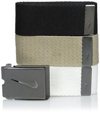 Nike Men's 3 Pack Web Belt, White/Khaki/Black, One Size
