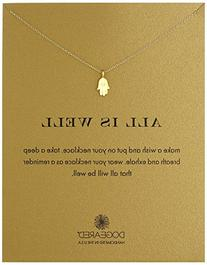 Dogeared Gold Dipped All Is Well Hamsa Necklace, 16