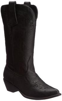 Roper Women's Western Embroidered Fashion Boot Black 7 B -