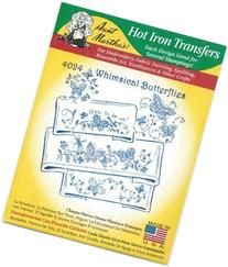 Whimsical Butterflies Aunt Martha's Hot Iron Embroidery