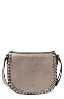 Phase 3 Whipstitch Faux Leather Saddle Bag - Metallic