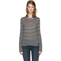 Frame Denim White and Black Striped Pintuck T-Shirt