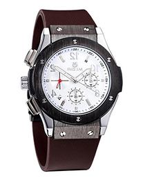Fanmis Men's White Dial Chronograph Sport Casual Brown