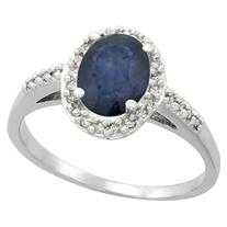 14K White Gold Natural Diamond Blue Sapphire Ring Oval 8x6mm